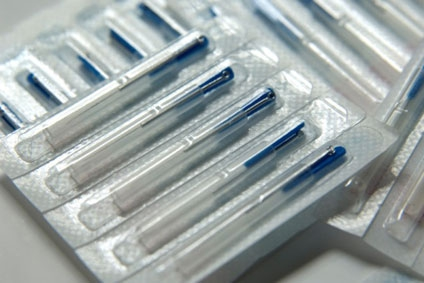 Sterilised single-use extremely fine needles which come in sealed packs